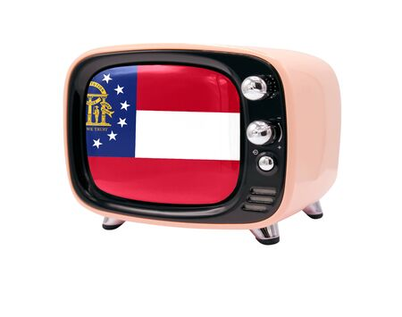 The retro old TV is isolated against a white background with the flag State of Georgia