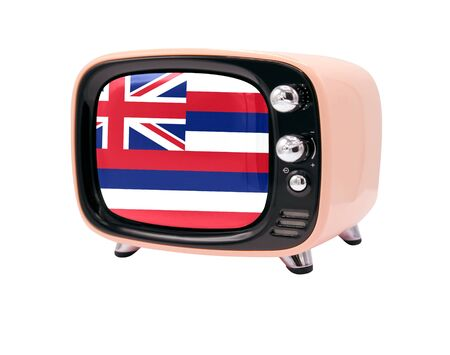The retro old TV is isolated against a white background with the flag State of Hawaii 免版税图像