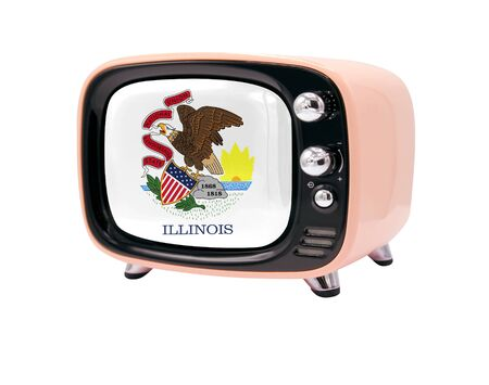 The retro old TV is isolated against a white background with the flag State of Illinois 免版税图像