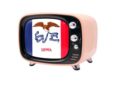 The retro old TV is isolated against a white background with the flag State of Iowa