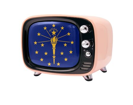 The retro old TV is isolated against a white background with the flag State of Indiana 免版税图像