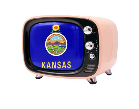 The retro old TV is isolated against a white background with the flag State of Kansas