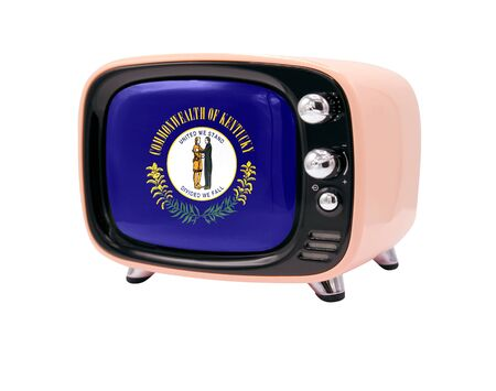 The retro old TV is isolated against a white background with the flag State of Kentucky