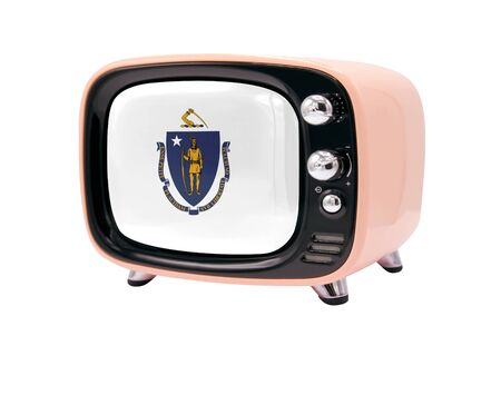 The retro old TV is isolated against a white background with the flag State of Massachusetts