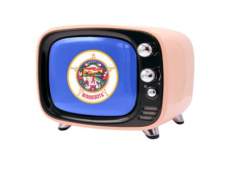 The retro old TV is isolated against a white background with the flag State of Minnesota