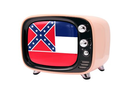 The retro old TV is isolated against a white background with the flag State of Mississippi 免版税图像