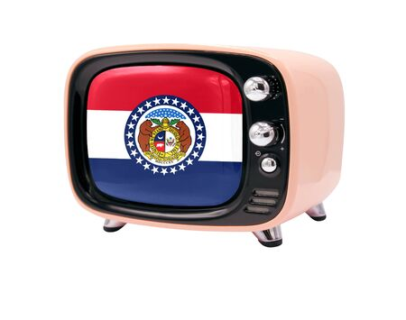 The retro old TV is isolated against a white background with the flag State of Missouri 免版税图像