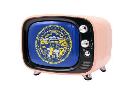 The retro old TV is isolated against a white background with the flag State of Nebraska