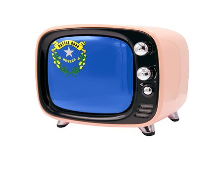 The retro old TV is isolated against a white background with the flag State of Nevada 免版税图像