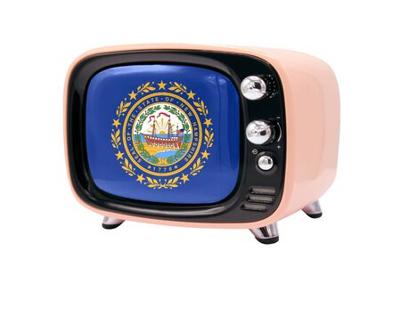 The retro old TV is isolated against a white background with the flag State of New Hampshire