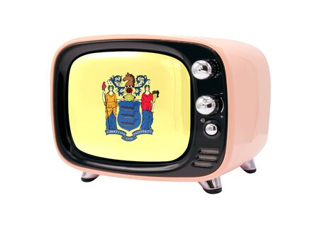 The retro old TV is isolated against a white background with the flag State of New Jersey