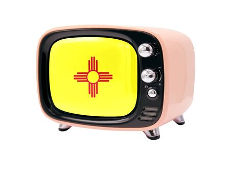 The retro old TV is isolated against a white background with the flag State of New Mexico