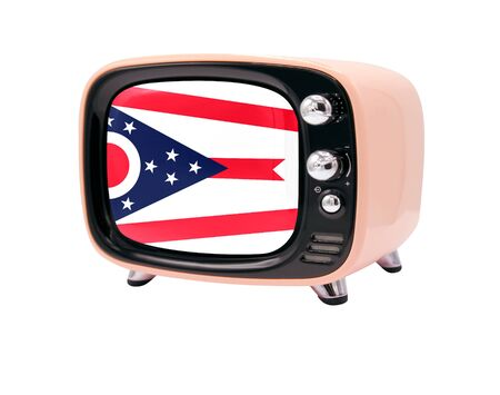 The retro old TV is isolated against a white background with the flag State of Ohio
