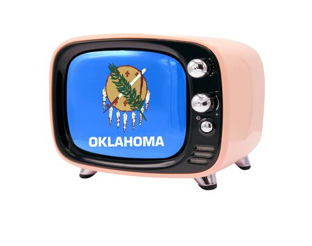 The retro old TV is isolated against a white background with the flag State of Oklahoma