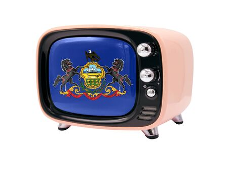 The retro old TV is isolated against a white background with the flag State of Pennsylvania