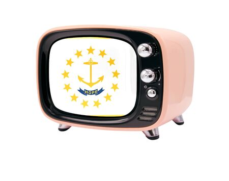 The retro old TV is isolated against a white background with the flag State of Rhode Island and Providence Plantations