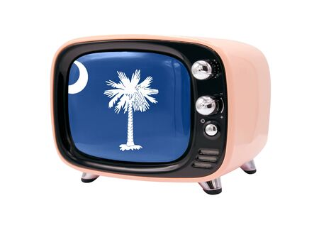 The retro old TV is isolated against a white background with the flag State of South Carolina