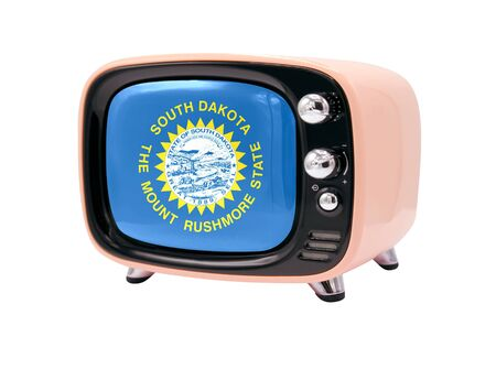 The retro old TV is isolated against a white background with the flag State of South Dakota