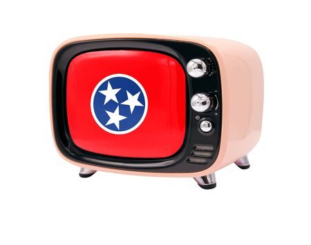 The retro old TV is isolated against a white background with the flag State of Tennessee 免版税图像
