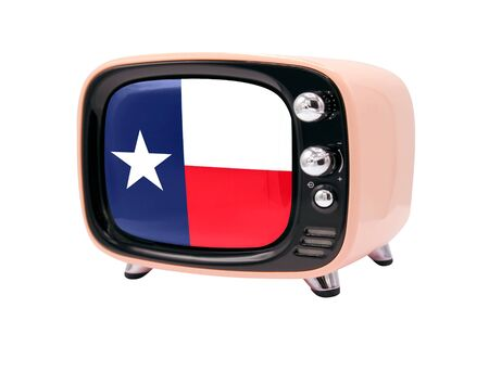 The retro old TV is isolated against a white background with the flag State of Texas