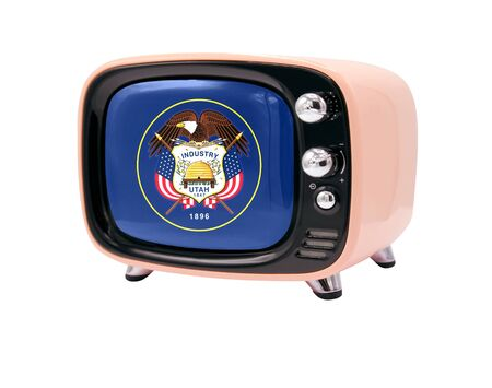 The retro old TV is isolated against a white background with the flag State of Utah 免版税图像