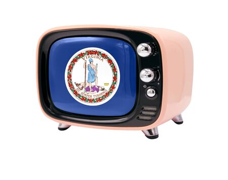 The retro old TV is isolated against a white background with the flag State of Virginia 免版税图像