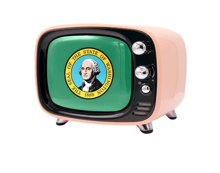 The retro old TV is isolated against a white background with the flag State of Washington