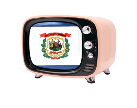 The retro old TV is isolated against a white background with the flag State of West Virginia