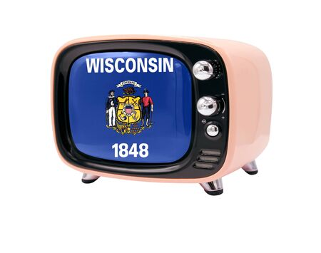 The retro old TV is isolated against a white background with the flag State of Wisconsin