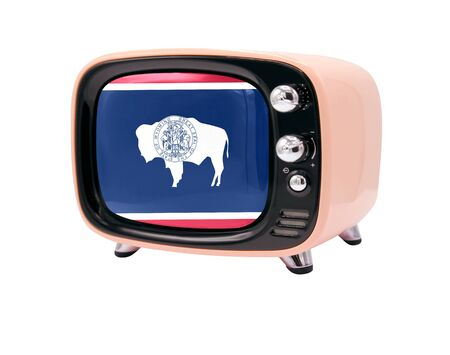 The retro old TV is isolated against a white background with the flag State of Wyoming