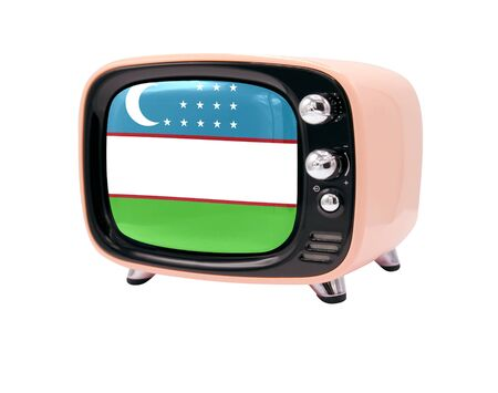The retro old TV is isolated against a white background with the flag of Uzbekistan 免版税图像