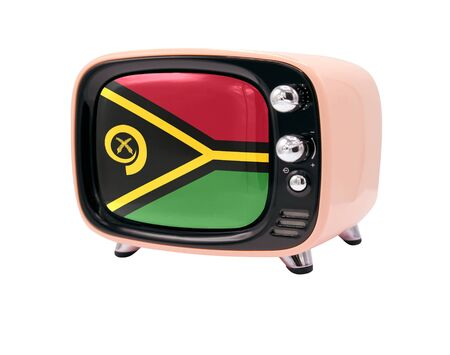 The retro old TV is isolated against a white background with the flag of Vanuatu 免版税图像