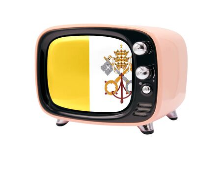The retro old TV is isolated against a white background with the flag of Vatican city Holy see 免版税图像