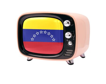 The retro old TV is isolated against a white background with the flag of Venezuela 免版税图像