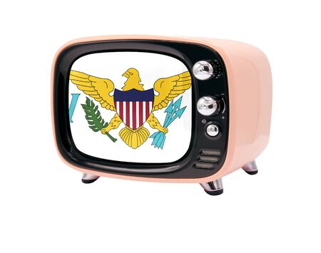 The retro old TV is isolated against a white background with the flag of Virgin Islands of the United States 免版税图像