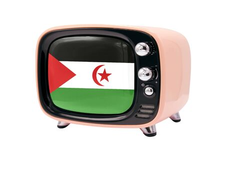 The retro old TV is isolated against a white background with the flag of Western Sahara 免版税图像