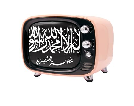 The retro old TV is isolated against a white background with the flag of Al Nusra Front