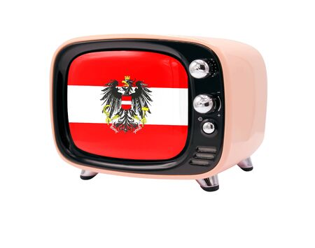 The retro old TV is isolated against a white background with the flag of Austria