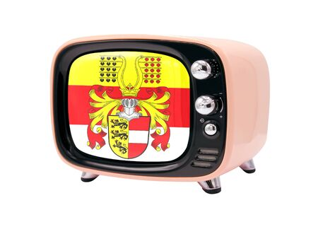 The retro old TV is isolated against a white background with the flag of Carinthia 版權商用圖片