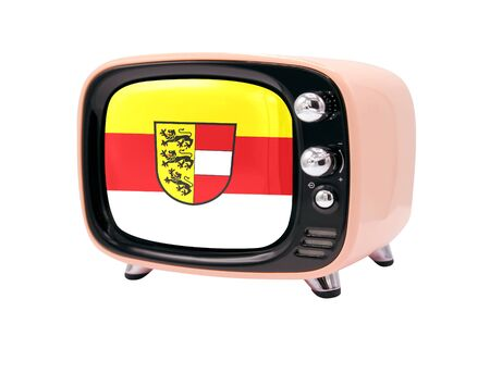 The retro old TV is isolated against a white background with the flag of Carinthia 免版税图像