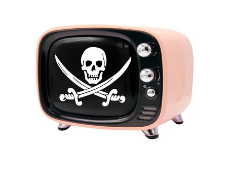 The retro old TV is isolated against a white background with the flag of Pirates black 免版税图像