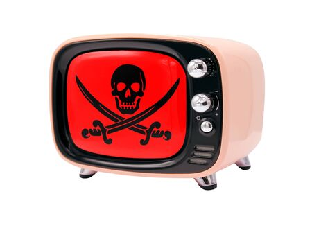 The retro old TV is isolated against a white background with the flag of Pirates red