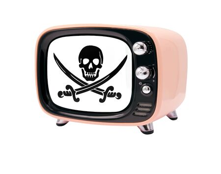 The retro old TV is isolated against a white background with the flag of Pirates white 免版税图像