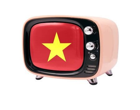 The retro old TV is isolated against a white background with the flag of Vietnam