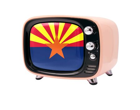 The retro old TV is isolated against a white background with the flag State of Arizona