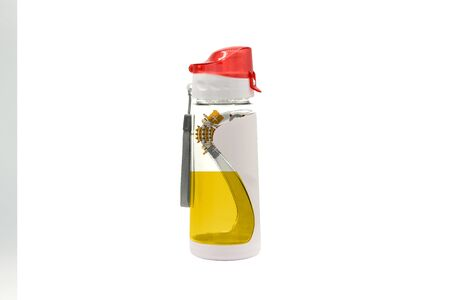 Sports Water Bottle with Vatican city Holy see flag on the bottle and isolated on a white background. Healthy lifestyle concept.