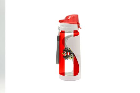 Sports Water Bottle with Salzburg flag on the bottle and isolated on a white background. Healthy lifestyle concept.