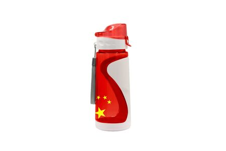 Sports Water Bottle China with flag on the bottle and isolated on a white background. Healthy lifestyle concept.