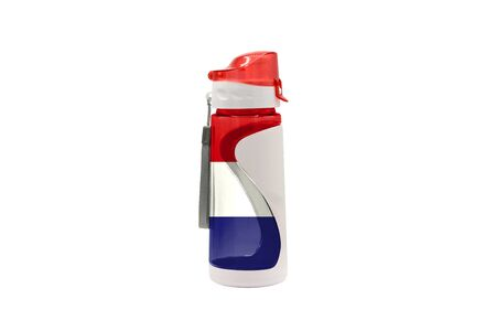 Sports Water Bottle with France flag on the bottle and isolated on a white background. Healthy lifestyle concept.