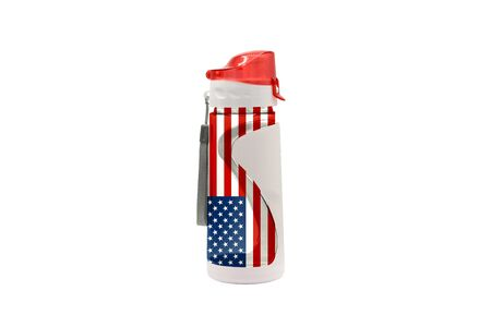 Sports Water Bottle with America flag on the bottle and isolated on a white background. Healthy lifestyle concept.